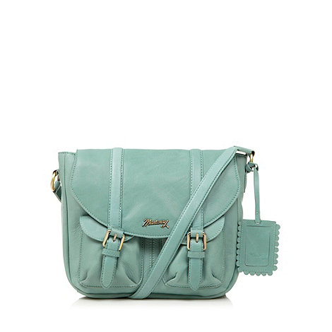 Mantaray - Light green leather double pocket satchel