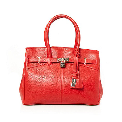 J by Jasper Conran - Designer red leather padlock trim tote bag