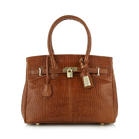 J by Jasper Conran - Designer tan mock croc belted leather tote bag