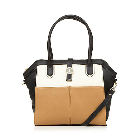J by Jasper Conran - Designer black colour block double pocket tote bag