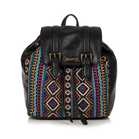 Mantaray - Black leather embroidered backpack