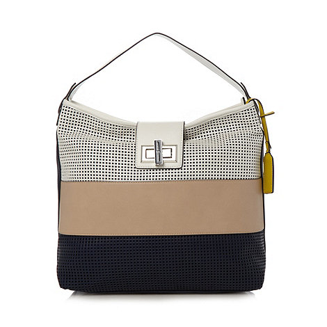 J by Jasper Conran - Designer navy perforated colour block tote bag