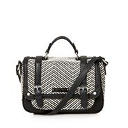 Designer cream chevron satchel bag