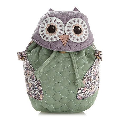 Mantaray - Green owl cross body bag