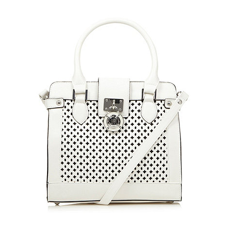 Star by Julien Macdonald - Designer white cutout small tote bag