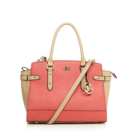Star by Julien Macdonald - Designer coral red colour block crosshatch tote bag