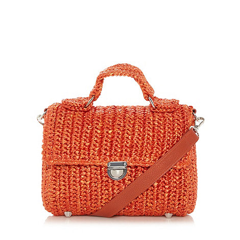 Betty Jackson.Black - Designer orange straw effect satchel
