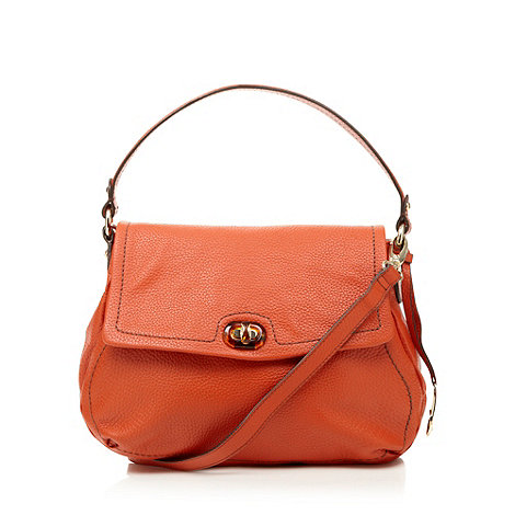 Betty Jackson.Black - Orange leather slouch shoulder bag