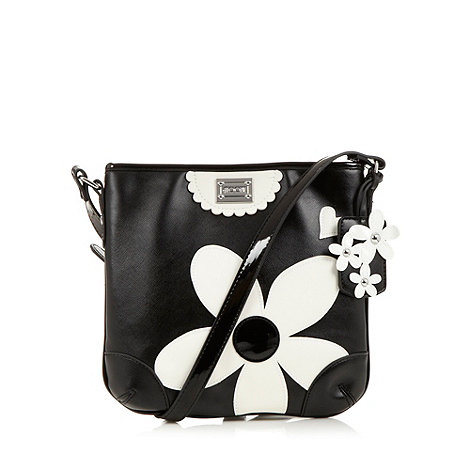 Floozie by Frost French - Black textured patent flower cross body bag
