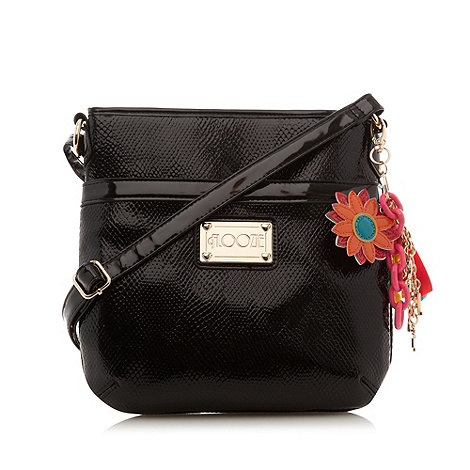 Floozie by Frost French - Black patent textured cross body bag