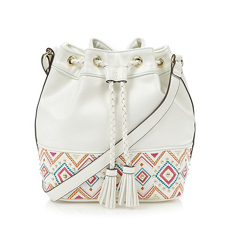 Butterfly by Matthew Williamson - Designer white tribal embroidered duffle bag