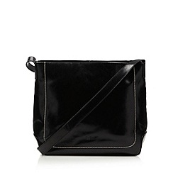 O.S.P OSPREY - Black large coated leather cross body bag