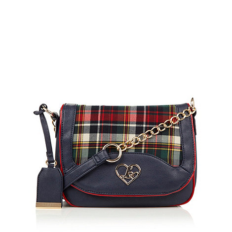 Lipsy - Navy tartan chain cross body bag