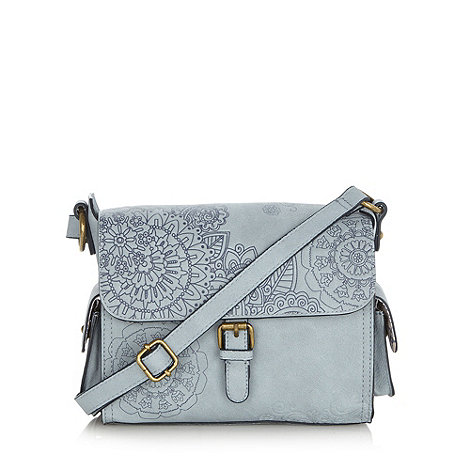 Mantaray - Light blue debossed floral satchel bag