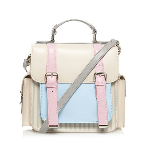H! by Henry Holland - Designer cream striped double buckle satchel