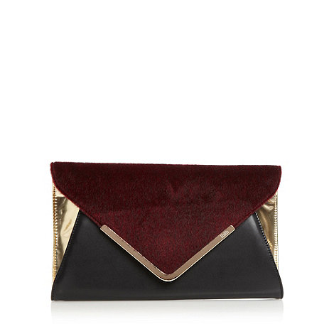 Faith - Wine faux fur textured envelope clutch bag