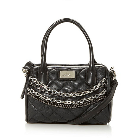Red Herring - Black quilted chain front mini barrel bag