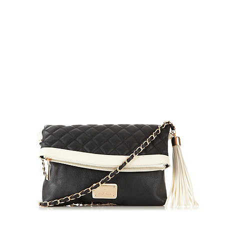 Red Herring - Black quilted tassel cross body bag