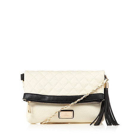 Red Herring - Cream quilted fold over cross body bag