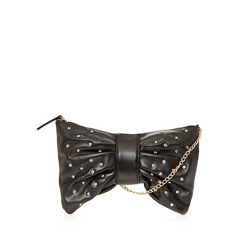 Red Herring - Black diamante bow clutch bag