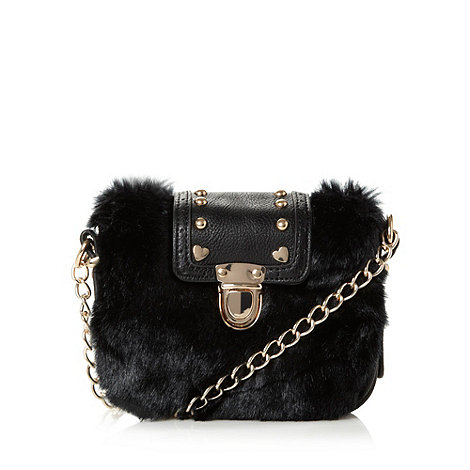 Red Herring - Black faux fur chain cross body bag