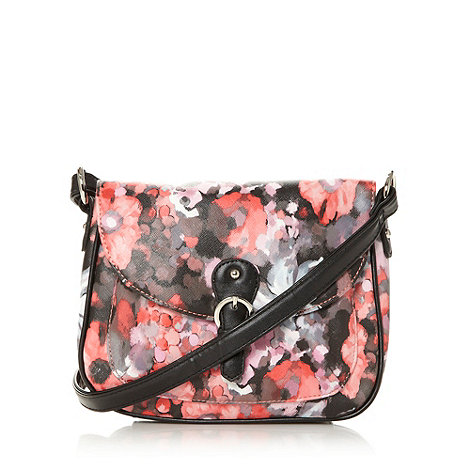 Red Herring - Black floral cross body bag