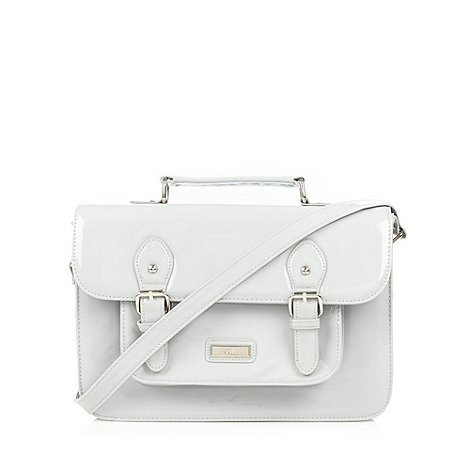 Red Herring - Grey patent structured satchel bag