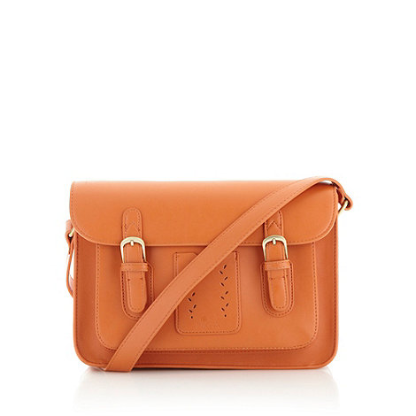 Nica - Dark orange medium cutout leaf satchel bag