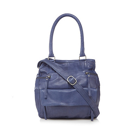 Nica - Navy medium floral canvas satchel bag
