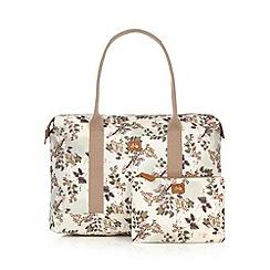 - Off white floral print weekender bag