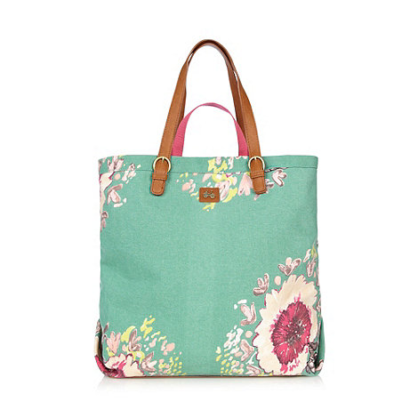 Nica - Green floral canvas tote bag