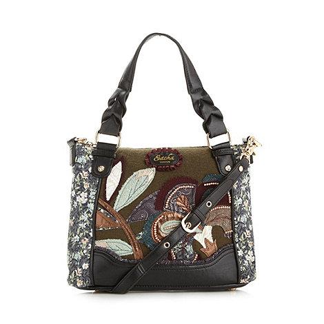 Sacha - Black applique flower grab bag
