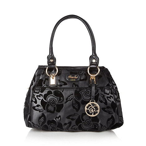 Sacha - Black flocked floral three section tote bag