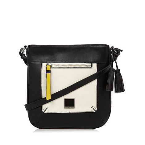 Principles by Ben de Lisi - Designer black monochrome panel cross body bag