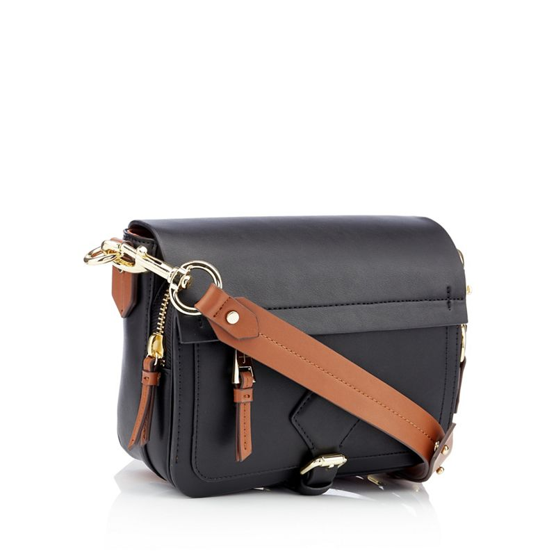J by Jasper Conran - Black Smooth Strawberry Hill Cross Body Bag