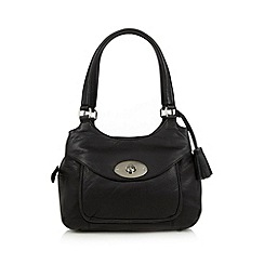 The Collection - Black leather double tassel tote bag