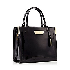 J by Jasper Conran - Designer black croc texture winged tote bag