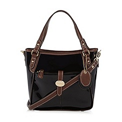 J by Jasper Conran - Designer black patent tab front grab bag