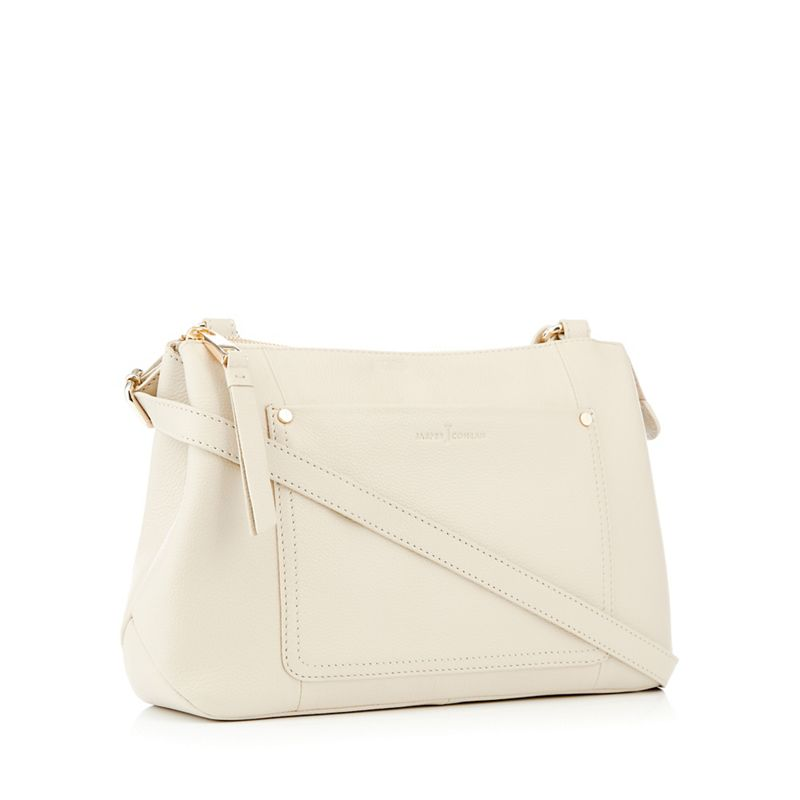 J by Jasper Conran - Cream Front Pocket Leather Cross Body Bag