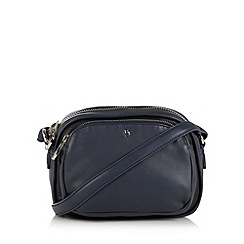 Betty Jackson.Black - Designer navy leather chunky zip cross body bag