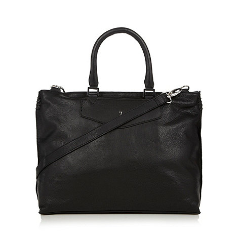 Betty Jackson.Black - Designer black leather stitched side tote bag