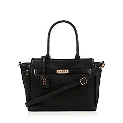 The Collection - Black leather belted tote bag