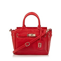 The Collection - Red small mock croc belted tote bag