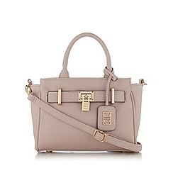 The Collection - Light pink piped small belted tote bag