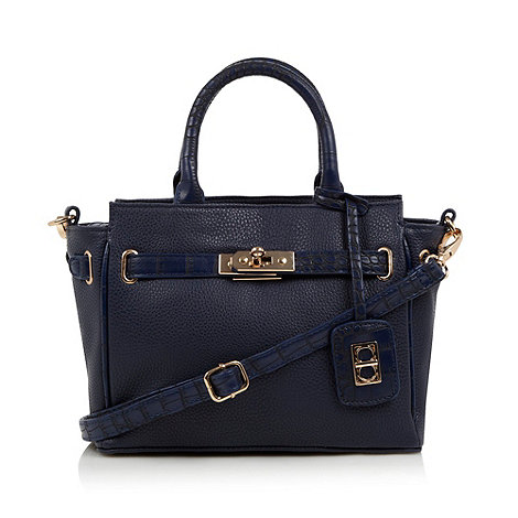 The Collection - Navy small mock croc belted tote bag