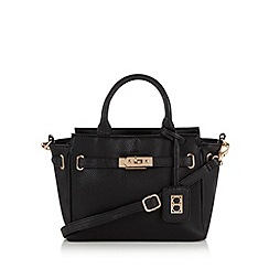 The Collection - Black small mock croc belted tote bag