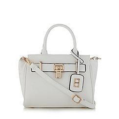 The Collection - White piped small belted tote bag
