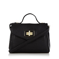 The Collection - Black enamel twist lock satchel