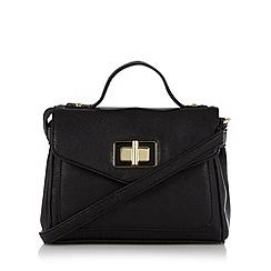 The Collection - Black enamel twist lock satchel
