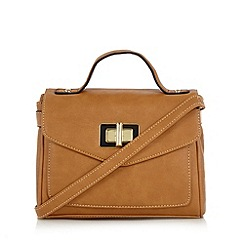 The Collection - Tan enamel twist lock satchel